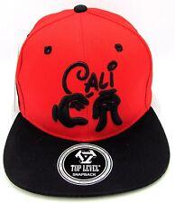 CALI Snapback Cap Hat California Republic Mickey Hands Flat Bill Red Black NWT