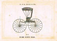 "Catalogue Advertising - Carriages by G & D Cook - ""ELM CITY TOP"" - 1860"