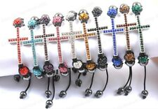 Fashion Quality Czech Crystal Disco Ball Beads CROSS Charms Adjustable Bracelets