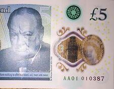 £5 Note AA01010 Very Rare 5 Pound, AA AA01 AA0101010387, 01-03-87