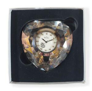 NIB Bulova Heart Shape Crystal Paperweight Desktop Mantel Clock Quartz Collect