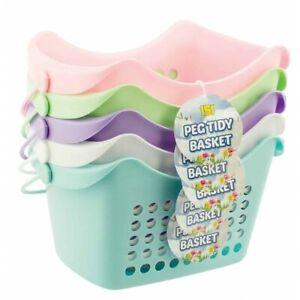 1x Pastel Peg Tidy Basket Cloths Peg Storage Rack Holder Stand - Assorted Colors
