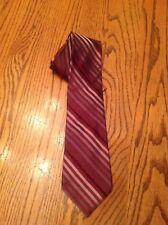 Mens Necktie Striped Black Gray Burgundy 100 % Silk