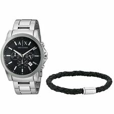 NEW* MENS ARMANI EXCHANGE AX BLACK SMART WATCH & BRAIDED LEATHER BRACELET AX7100