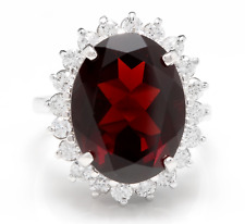 11.05 Carats Natural Red Garnet and Diamond 14K Solid White Gold Ring