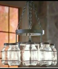 WROUGHT IRON MASON JAR CHANDELIER CANNING JAR LIGHT COUNTRY RUSTIC LIGHTING