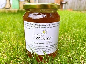 1kg Raw Honey with Organic Saffron 100% Pure,Natural,untreated,and unpasteurised