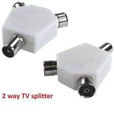 2 x 2 Way TV Aerial Coax Coaxial Splitter - Y Adaptor Ariel Dual Converter Cable