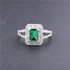1.90 Carat 14KT White Gold Natural Green Emerald EGL Certified Diamond Ring