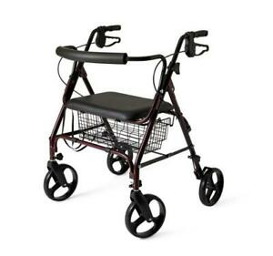 Medline Aluminum Rollator Walker with Seat, Folding Mobility Rolling Walker has