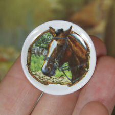 Dollhouse BROWN HORSE DECORATIVE PLATE Miniature Farm Animal Tea Set Toy Dish