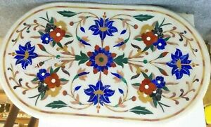 18 x 36 Inches Marble Dining Table Top with Pietra Dura Art Sofa Table for Home