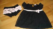 BOUTIQUE ELLA MOSS 3-6 BLACK PINK TRIM DRESS BLOOMER SET