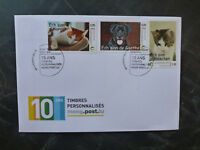 2016 LUXEMBOURG ANIMALS CATS & DOGS SET OF 3 STAMPS FDC FIRST DAY COVER