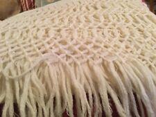 """Vintage Cream Wool Silk Fringe Piano Scarf Shawl Wrap 25"""" x 100"""""""