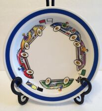 """Tiffany Race Cars Child's PLATE 2002 Tiffany & Co 8"""" Diameter Discontinued"""