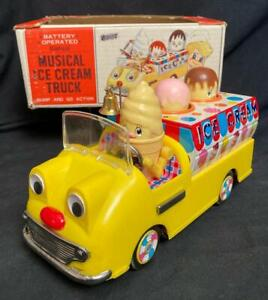 BANDAI JAPAN BATTERY OPERATED MUSICAL ICE CREAM TRUCK WITH BOX