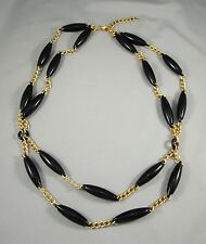 Matte Gold Tone Chain Long Oblong Black stations Draped Necklace Adjustable #150