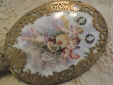 "Old French Sevres? Beautiful Hand Painted ""Playful Cherubs"" Vanity, Hand Mirror"