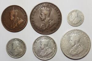1917 Australian Pre-Decimal Coin Set in Holder 92.5% Silver Florin Shilling  6d