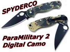 """Spyderco Para Military 2 Folding Knife Black 3.43"""" Blade Camo G10 C81GPCMOBK2"""