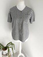 Silk Exchange Womens Vintage Blouse Top Uk Small 10/12 100% Silk Retro Check