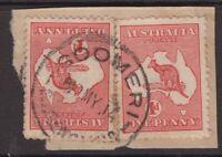 Queensland nice GOOMERI postmark 1914 on kangaroo piece