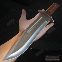 "16"" Saw Back Full Tang Fixed Blade Bowie Knife Hunting Survival Wood w/ Sheath"