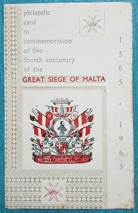 1965 Philatelic Card Commemorating The Great Siege of Malta - First Day of Issue