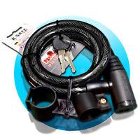 SPIRALSCHLOSS 12x1200mm schwarz Kabelschloss Fahrradschloss + Halterung B-Safe