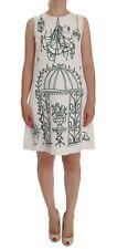 NEW $1600 DOLCE & GABBANA Dress White Jacquard Green Sicily Print s. IT40 / US6