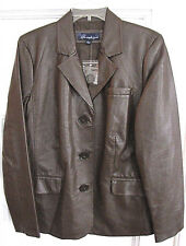 NWT Susan Graver Chocolate Brown Faux Leather Lt. Weight Spring Jacket, L