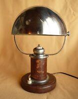 Lampe époque Art Déco chrome et cuir, à identifier ou attribuer   style Adnet