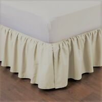 """IVORY NEW 1PC 14"""" DROP SOLID PLAIN BED SKIRT WITH SPLIT CORNERS IN ALL SIZES"""