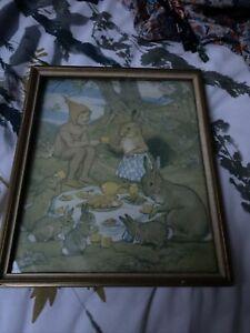 VINTAGE FRAMED MARGARET TARRANT PRINT An Elf To Tea NURSERY DECOR