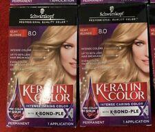 2 Schwarzkopf Keratin Color Permanent Hair Color # 8.0 Silky Blonde