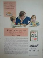 1929 Kelloggs Rice Krispies Mother Two Children Eating Cereal Original Ad