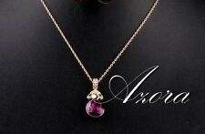 Rose Gold Filled Amethyst Purple Necklace Pendant with Stellux Austrian Crystal