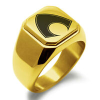 Stainless Steel Aquaman Symbol Mens Square Biker Style Signet Ring