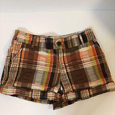 Anthropologie Elevenses Women's Brown Gold Orange Madras Plaid Shorts Sz O