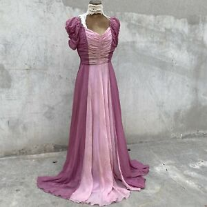 Vintage 1930s Pink ColorBlock Sheer Organdy Maxi Dress Ruched Bodice Puff Sleeve