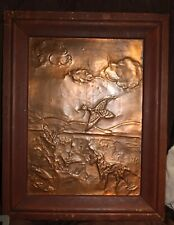 Copper Dog Pointer Hunting Bird Dog on Wood Plaque