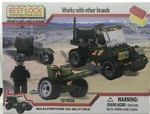 Best-Lock Construction Toys Jeep, Motorcycle, Howitzer 120 Pieces #91208 NEW!