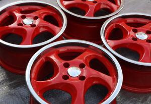 ❤️❤️4 Turbo Wheels 4x98 7x15 Lancia Delta Integrale HF Fiat Alfa Romeo Red Polsh