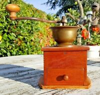 Vintage Continental Solid Wood and Brass Coffee Manual Mill Grinder in VGC