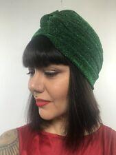 Bonnet turban stretch vert émeraude à paillettes pinup burlesque rétro original