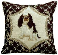 "16""x16"" Handmade Wool Needlepoint Cavalier King Charles Spaniel Dog Black Pillow"