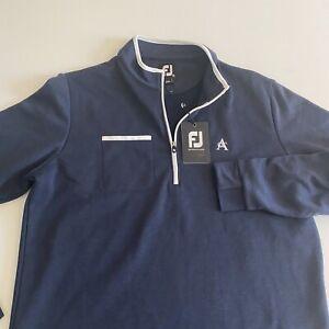 Footjoy FJ NWT Mens Medium Blue/White L/S Fleece 1/4 Zip Midlayer Pullover ACC
