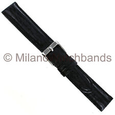 18mm Milano Black Thick Padding Stitched Genuine Shark Mens Watch Band Regular