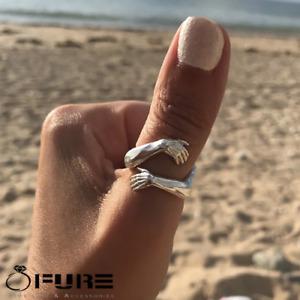 Einstellbare Handgefertigte Hug Hände umarmen sich 925 Sterling Silber gefüllt Ringe